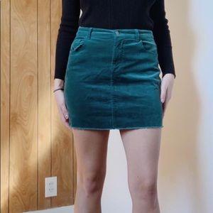 Green corduroy skirt